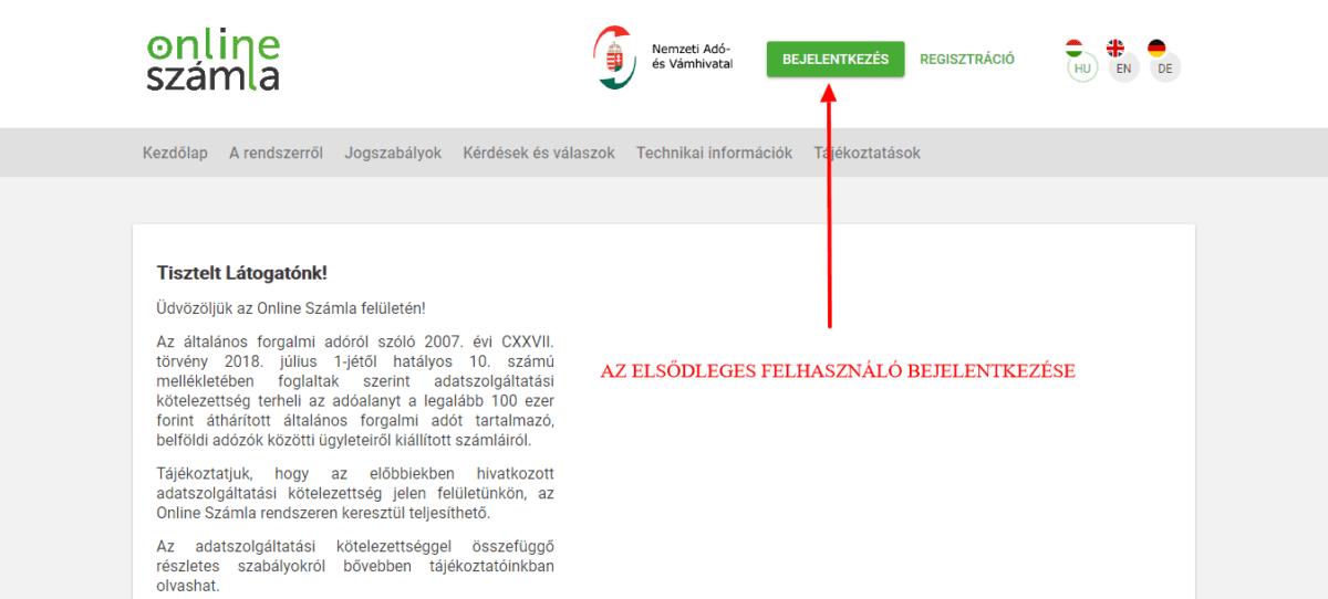 könyvelőzóna útmutató - NAV adatszolgáltatás technikai felhasználó létrehozása, bejelentkezés