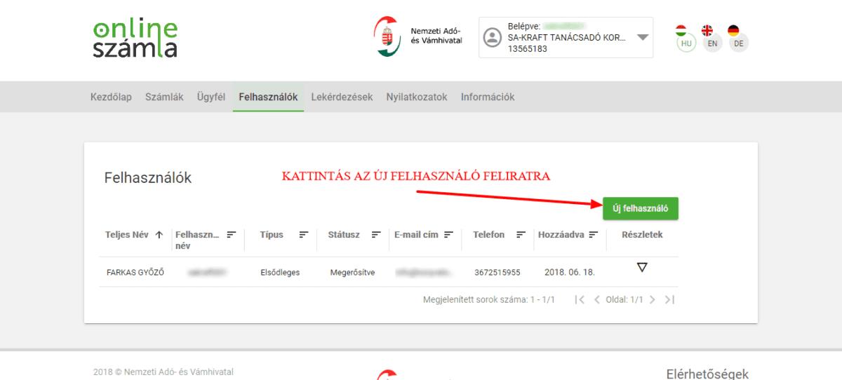 könyvelőzóna útmutató - NAV adatszolgáltatás technikai felhasználó létrehozása, új felhasználó