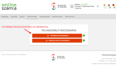 könyvelőzóna útmutató - NAV adatszolgáltatás technikai felhasználó létrehozása, a technikai felhasználó
