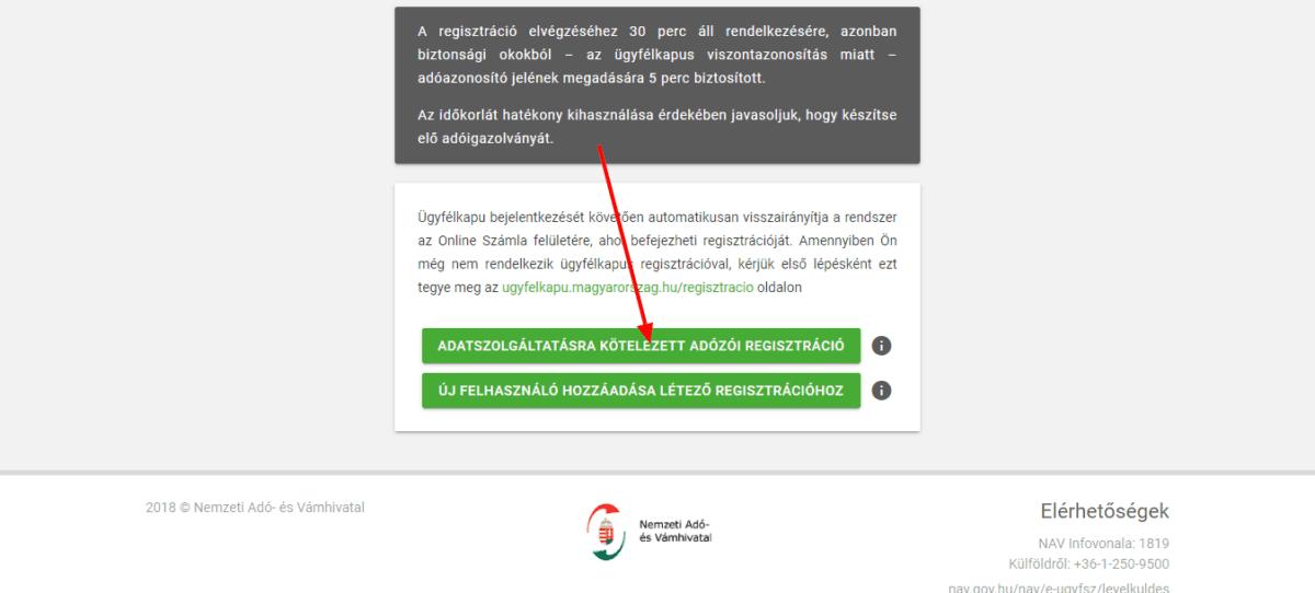 könyvelőzóna útmutató - NAV adatszolgáltatás regisztráció, adatszolgáltatásra kötelezett adózói regisztráció