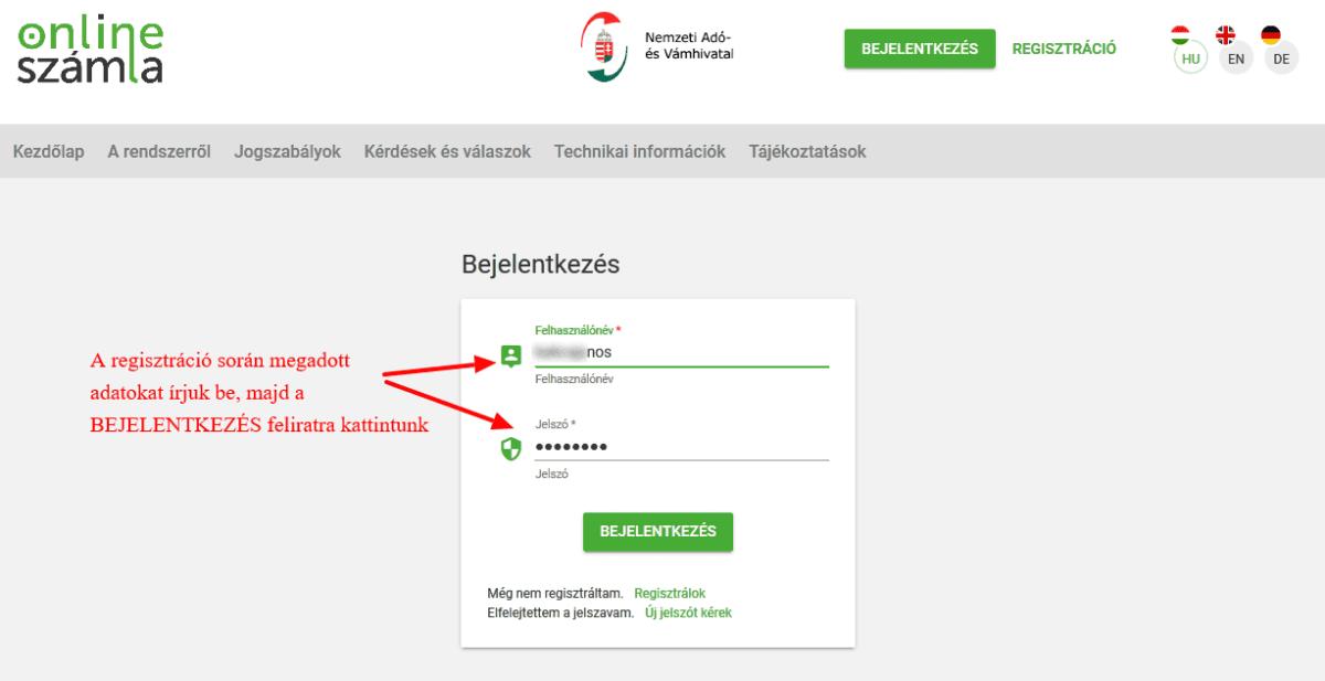 NAV online SZÁMLÁZÓ használatbavételi útmutató - bejelentkezés, online számla azonosító adatok