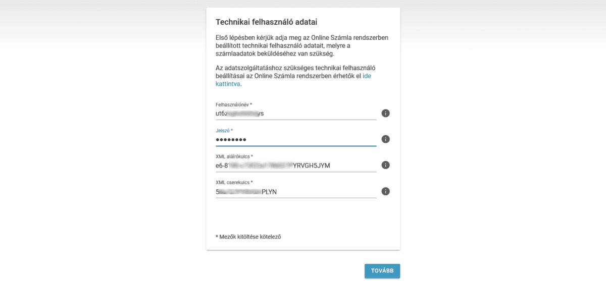 NAV online SZÁMLÁZÓ használatbavételi útmutató - technikai felhasználói adatok bevitele