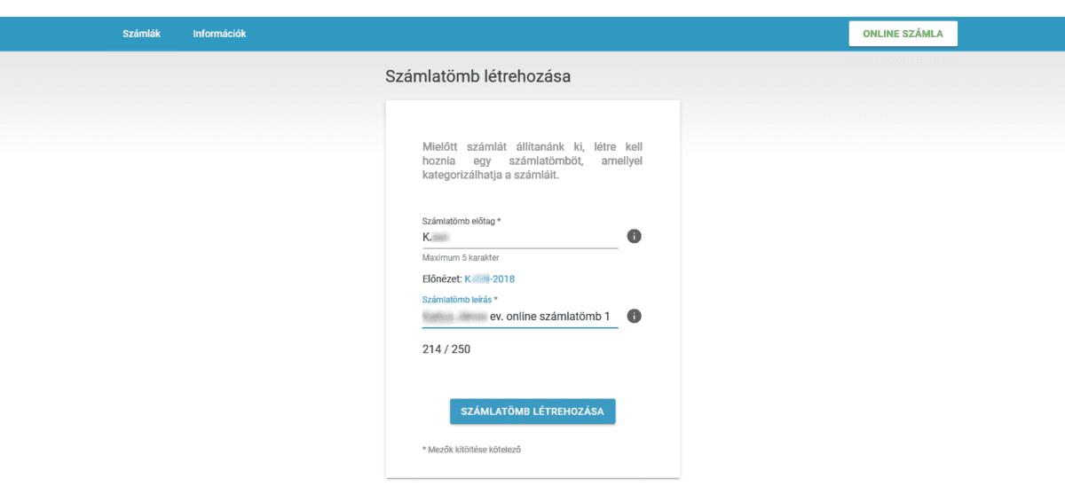NAV online SZÁMLÁZÓ használatbavételi útmutató - számlatömbök létrehozása
