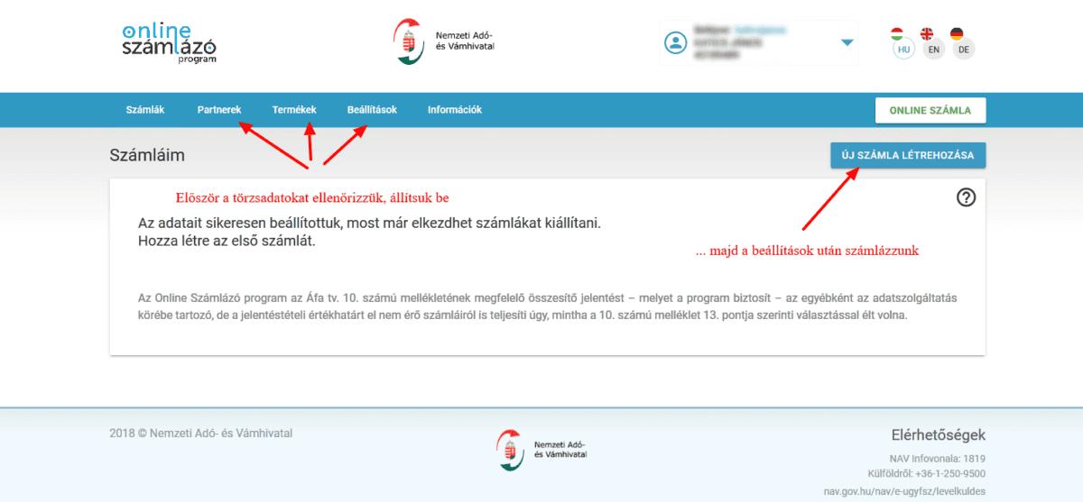 NAV online SZÁMLÁZÓ használatbavételi útmutató - törzsadatok beállításai