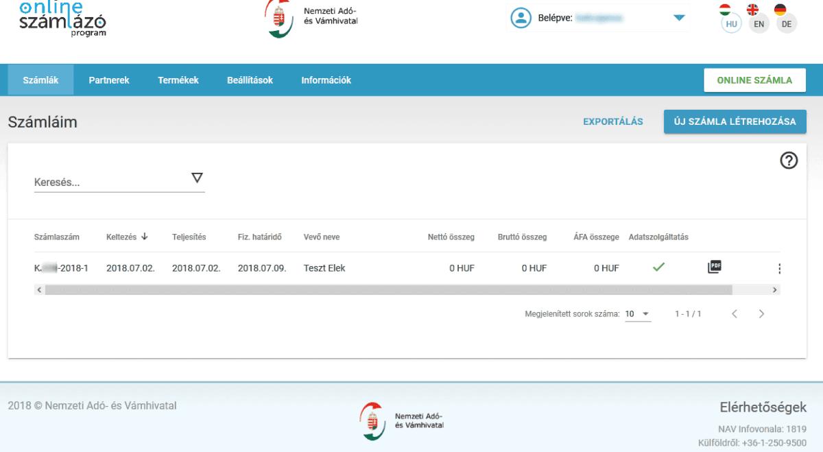 NAV online SZÁMLÁZÓ használatbavételi útmutató - elkészült számla adatai