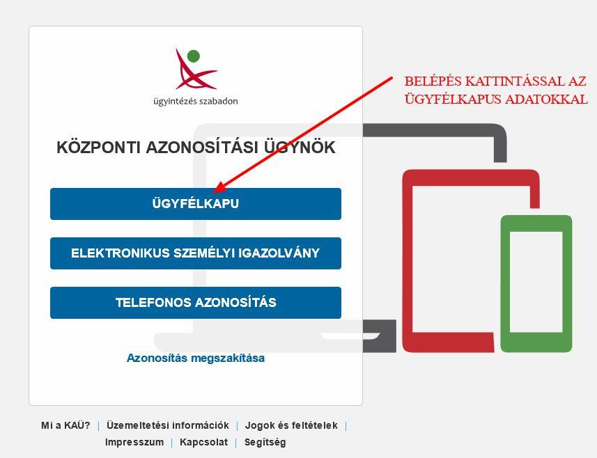 Cégkapu megbízott, Cégkapu ügykezelő tárhely üzenetek ellenőrzése útmutató - Belépés az Ügyfélkapun keresztül