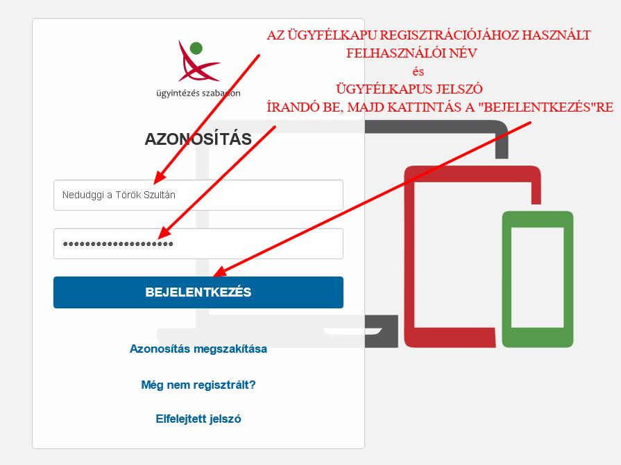 Cégkapu megbízott, Cégkapu ügykezelő tárhely üzenetek ellenőrzése útmutató - Ügyfélkapus Felhasználói név és Jelszó alapú azonosítás